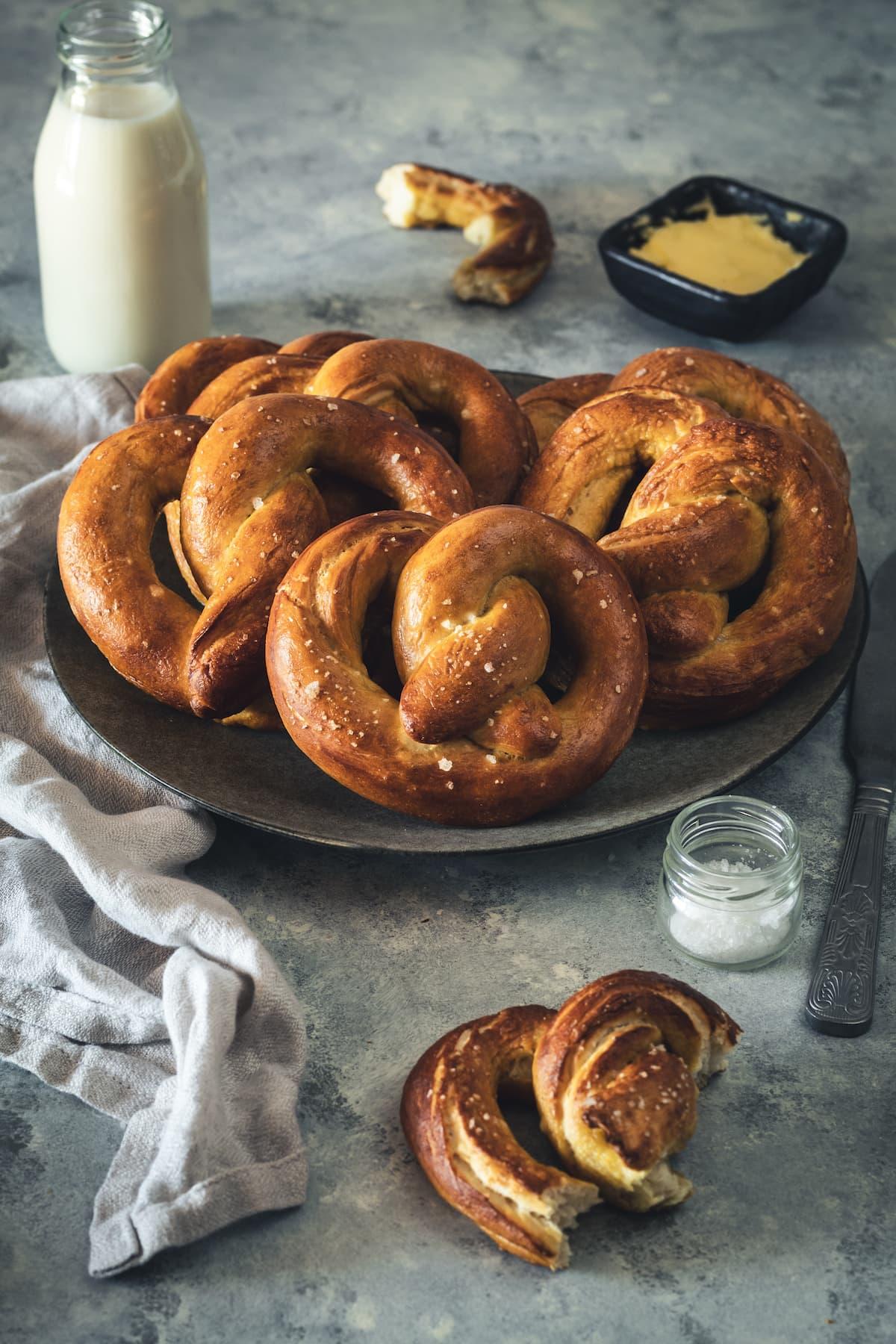 Plate of homemade soft pretzels.
