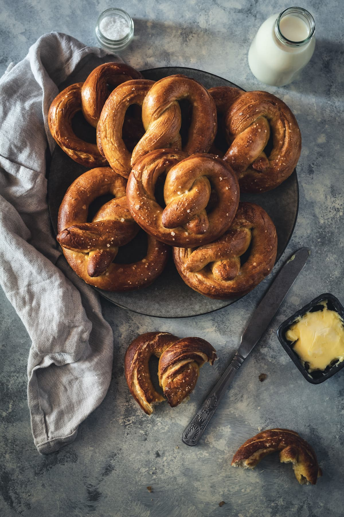 Plate of chewy homemade pretzels.