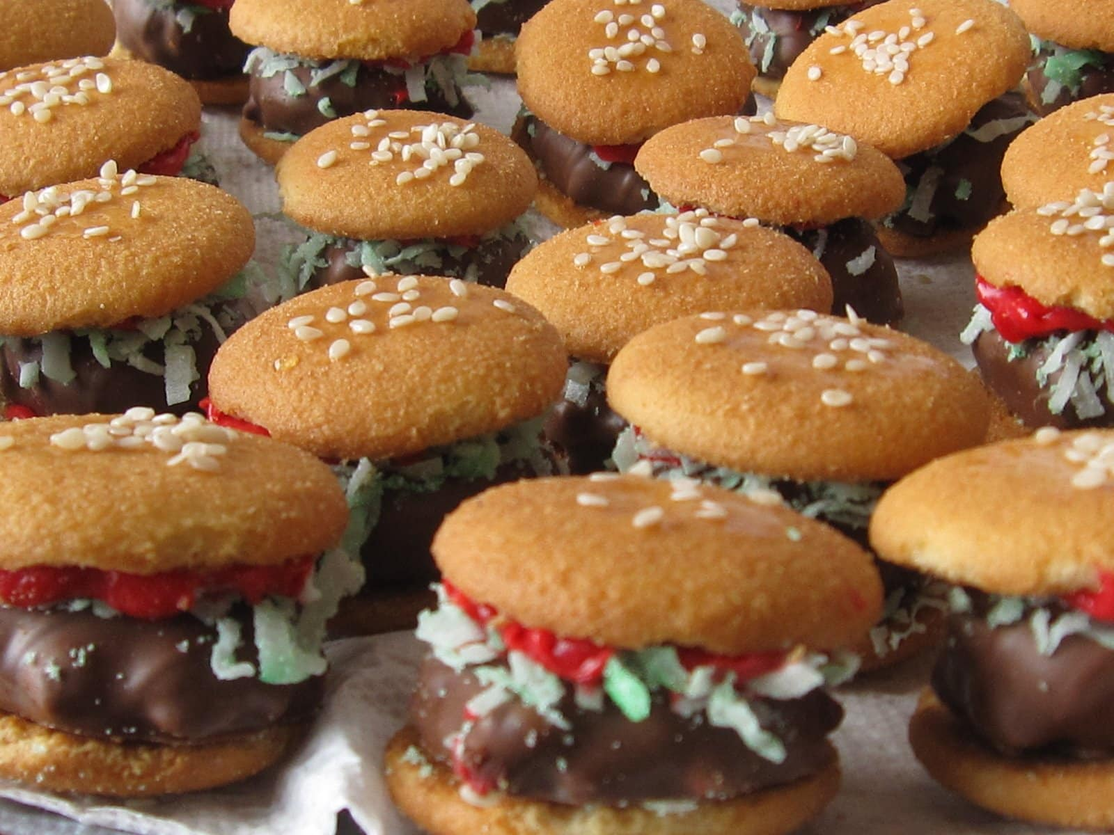 """A ton of mini Nilla Wafer burgers with Reese's Cluster """"meat"""""""