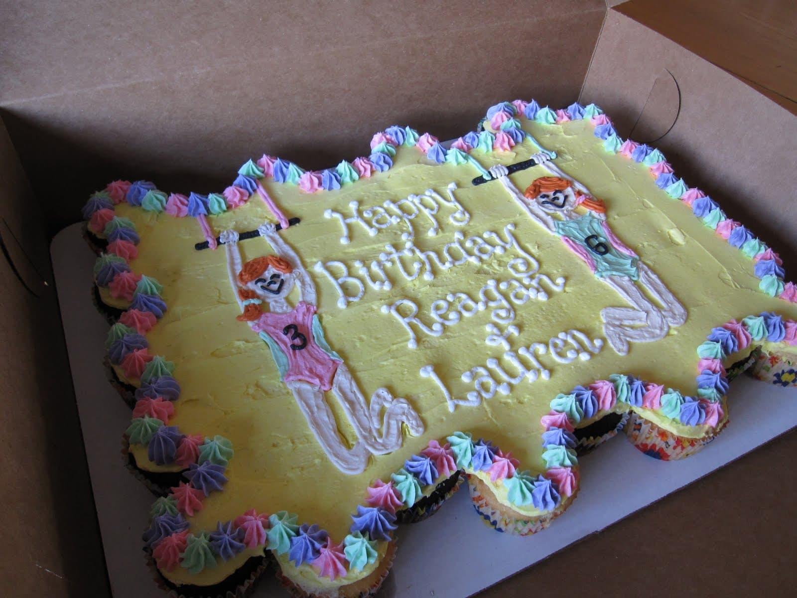 Gymnastics-decorated birthday sheet cake in a box