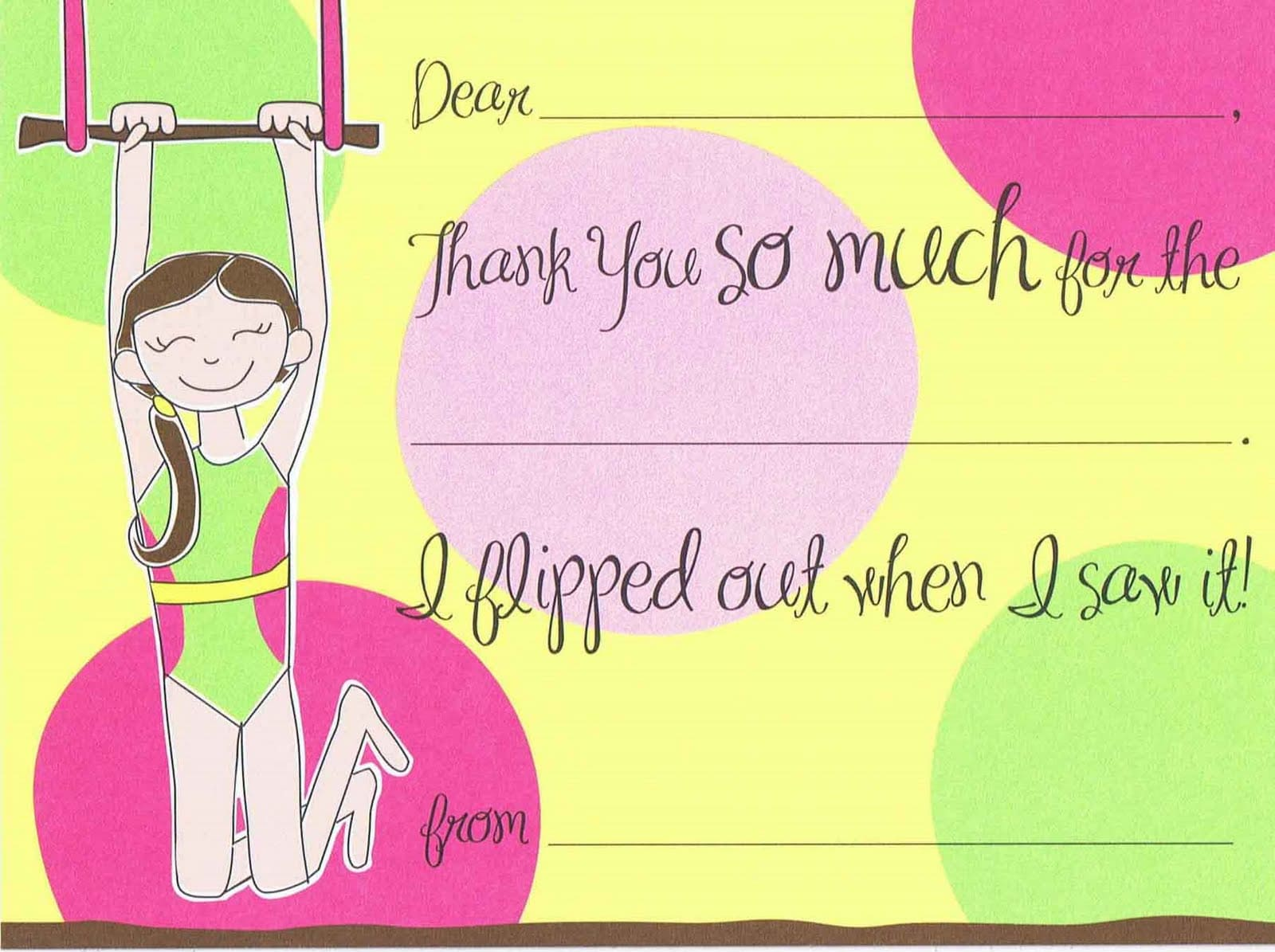 Gymnastics-themed birthday party thank-you card