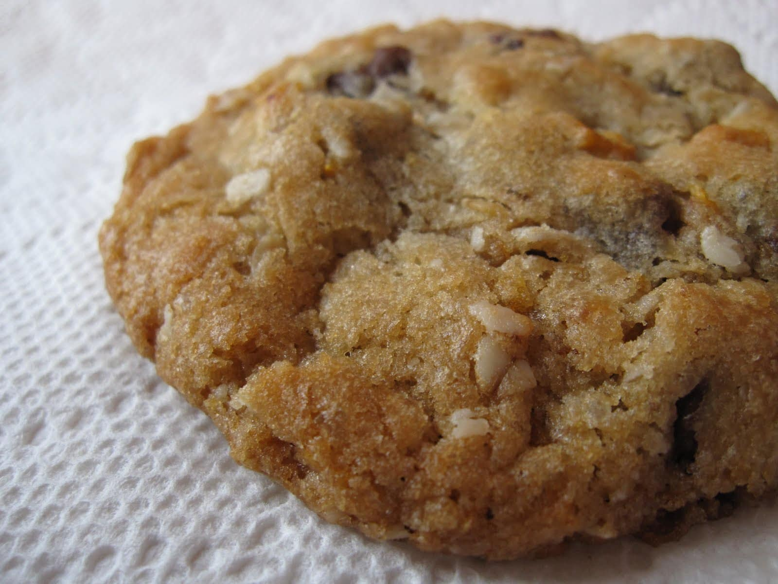 Close-up of a Cornflake chocolate chip cookie