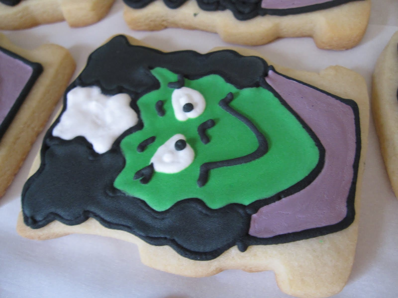 Close-up of a Bride of Frankenstein decorated cookie