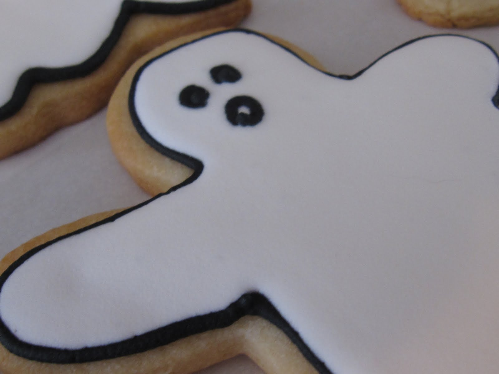 Close-up of a ghost decorated cookie