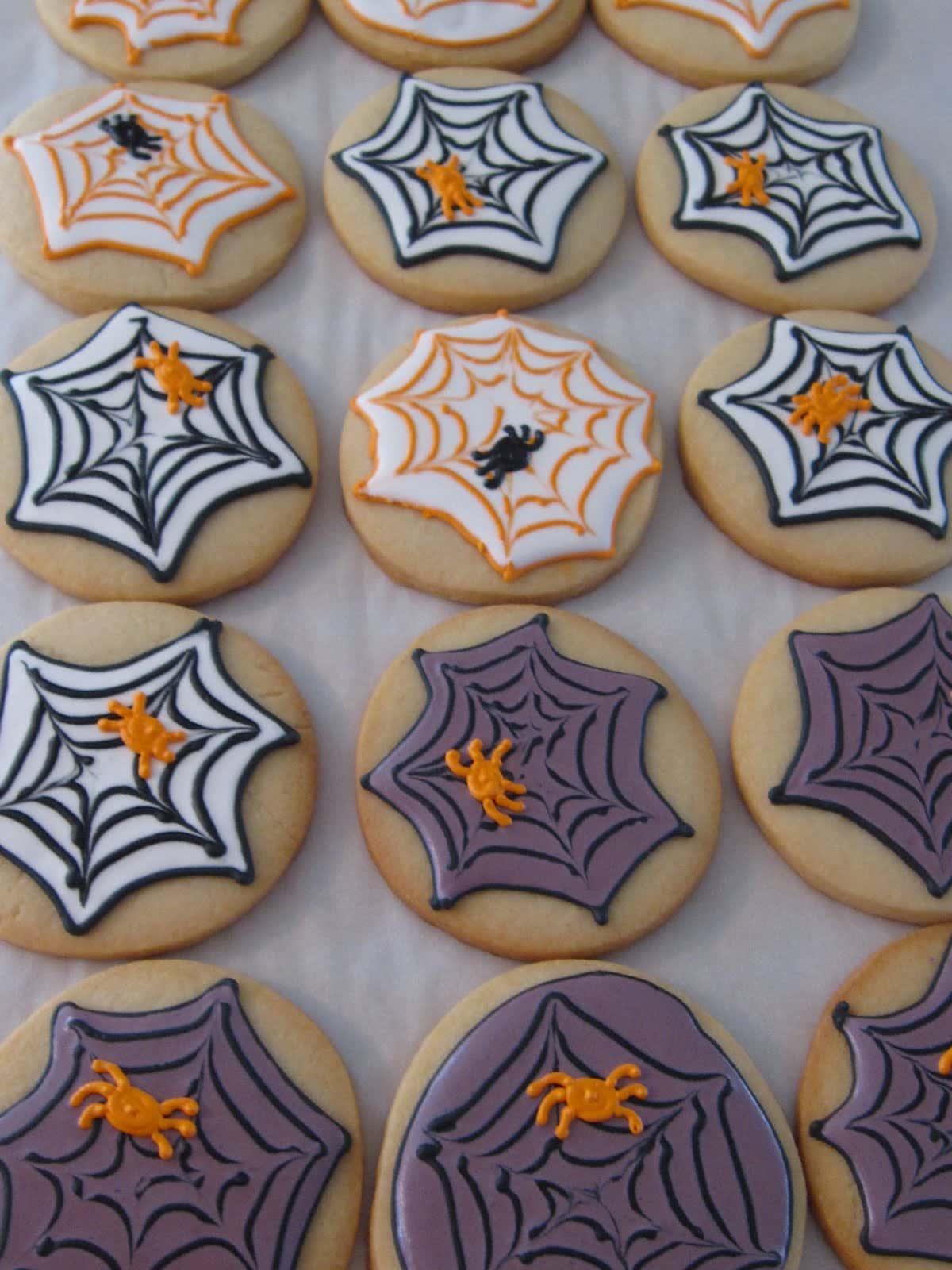 Cookies decorated as spiderwebs