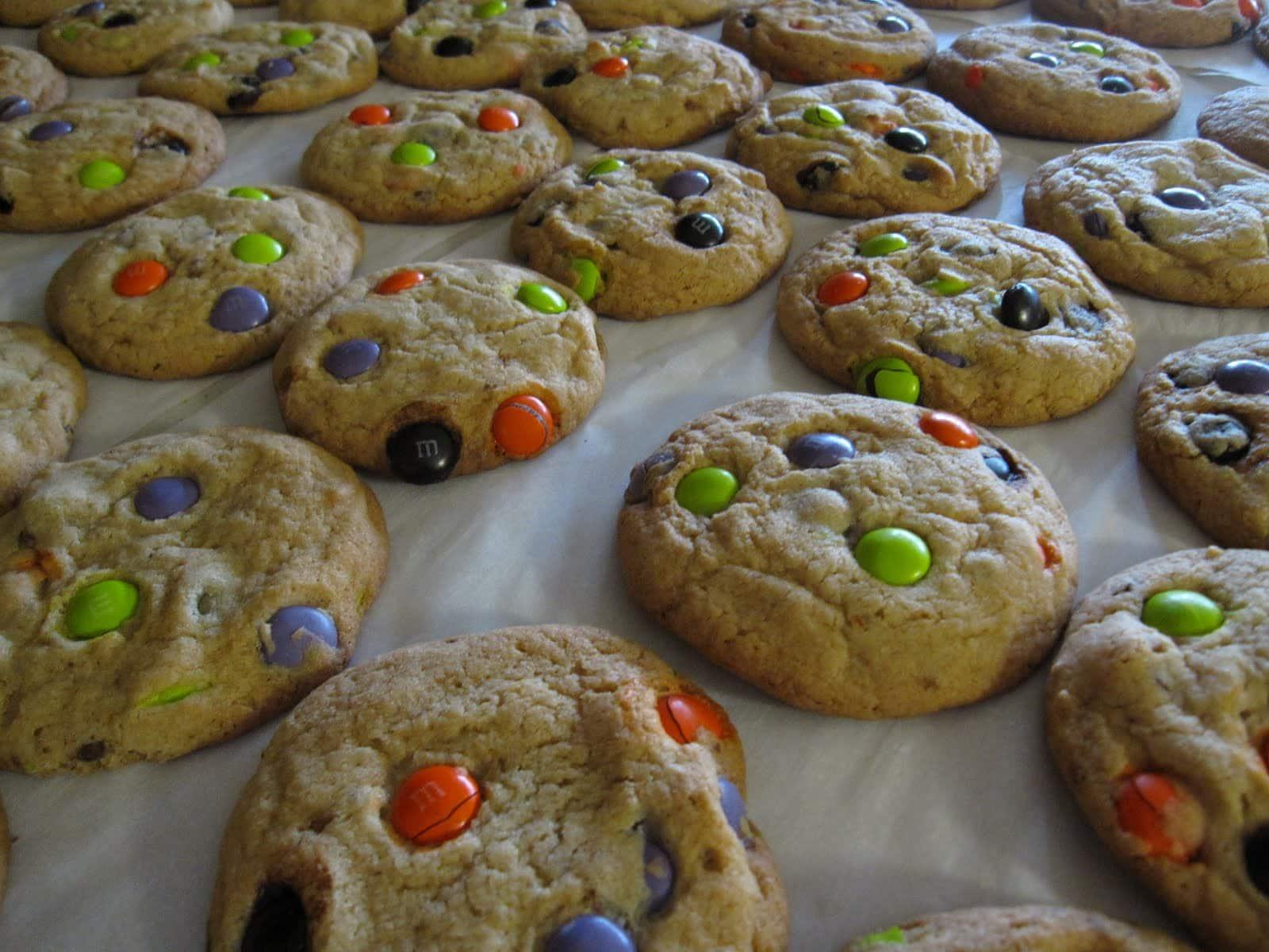 M&M Cookies on parchment paper