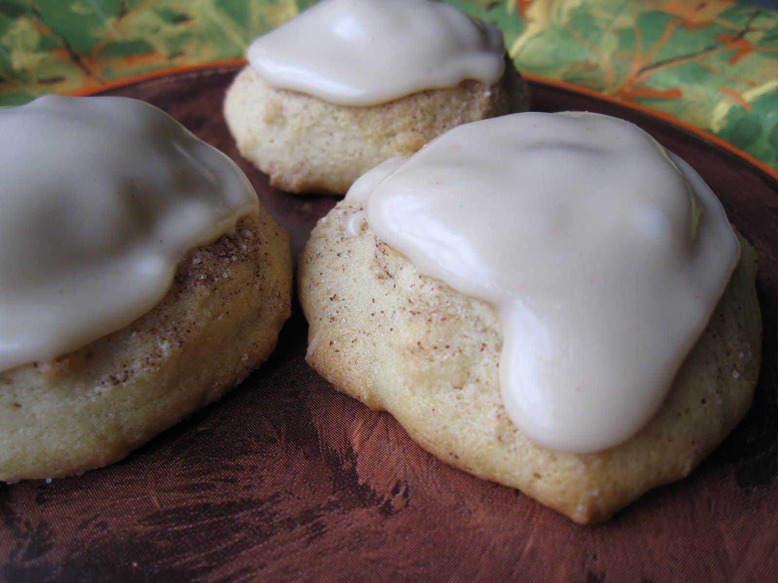 Three maple cookies with maple glaze