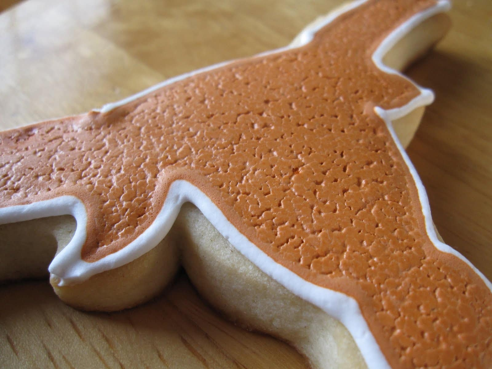 Close-up of Texas Longhorn cookie with leather-textured icing