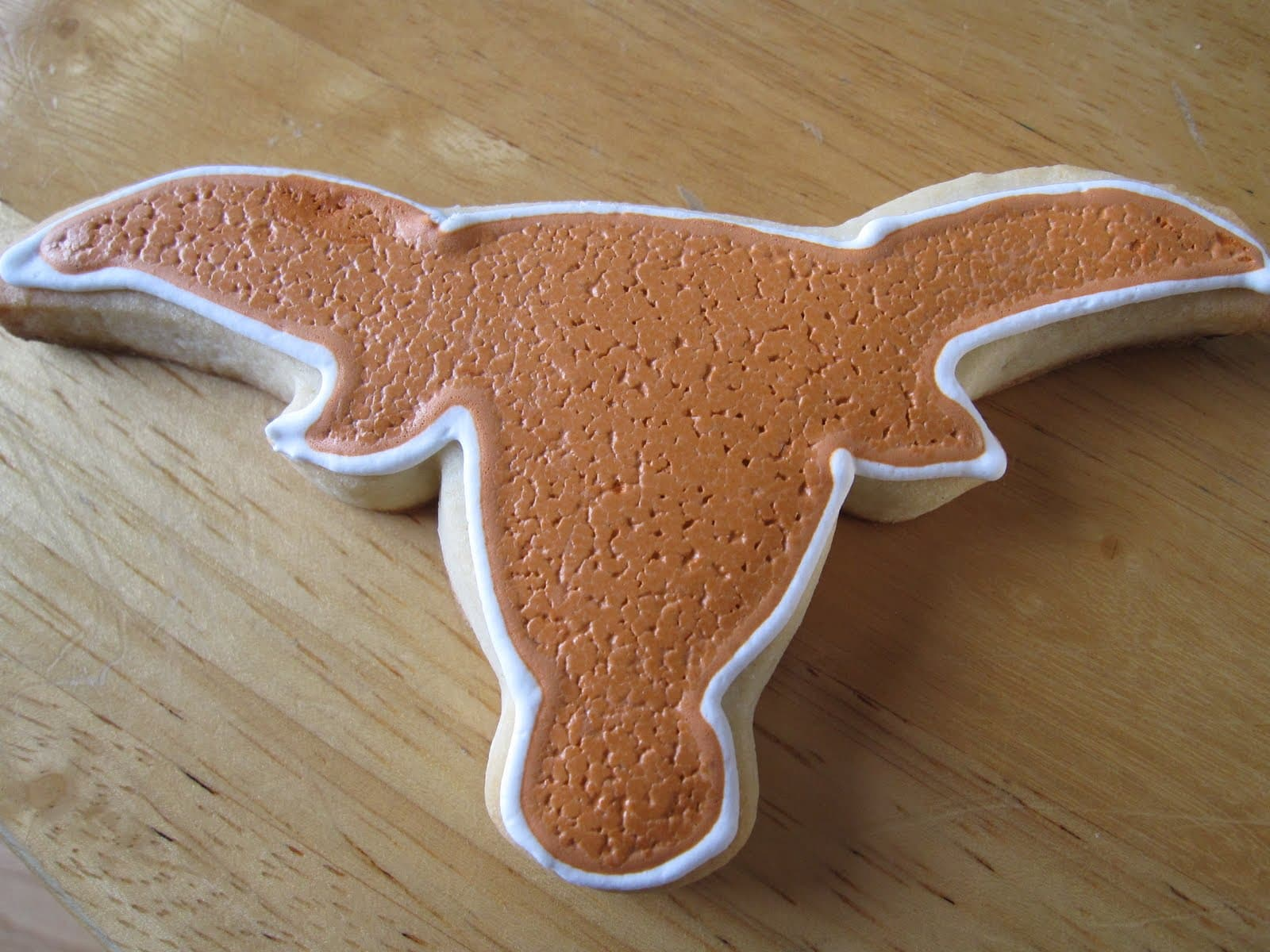 Texas Longhorn frosted cookie