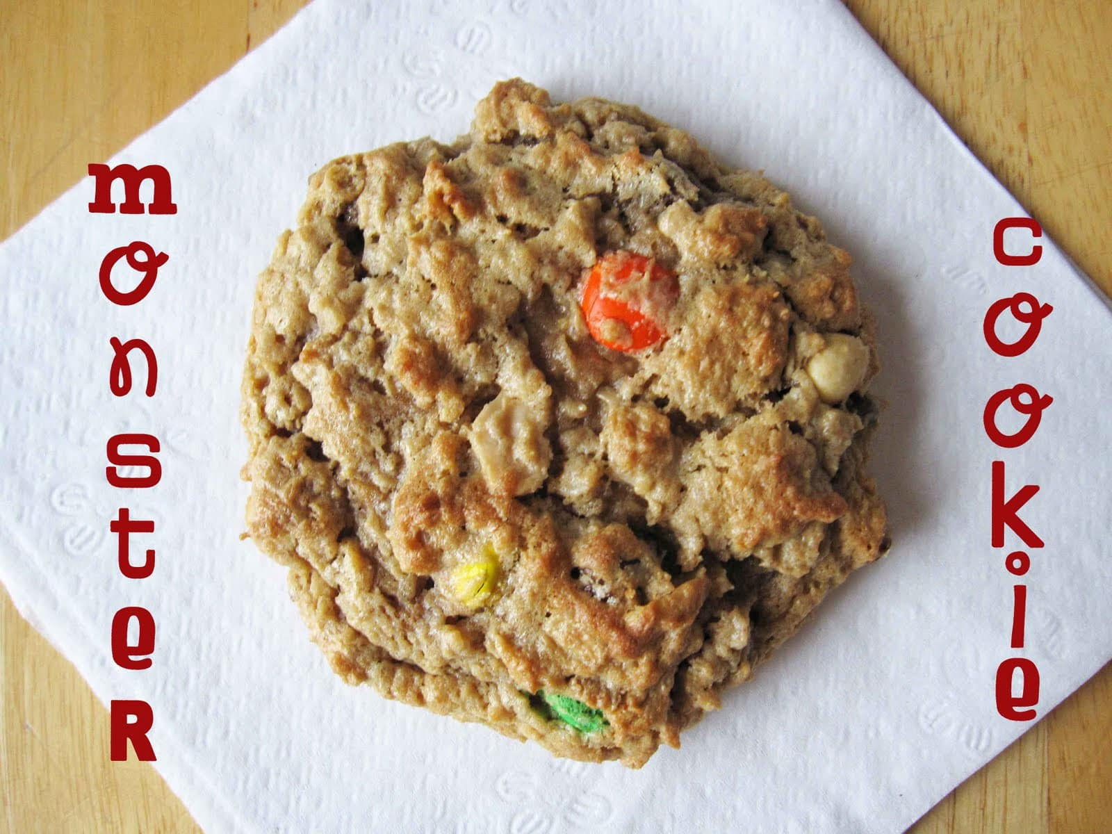 Top view of a monster cookie on a napkin