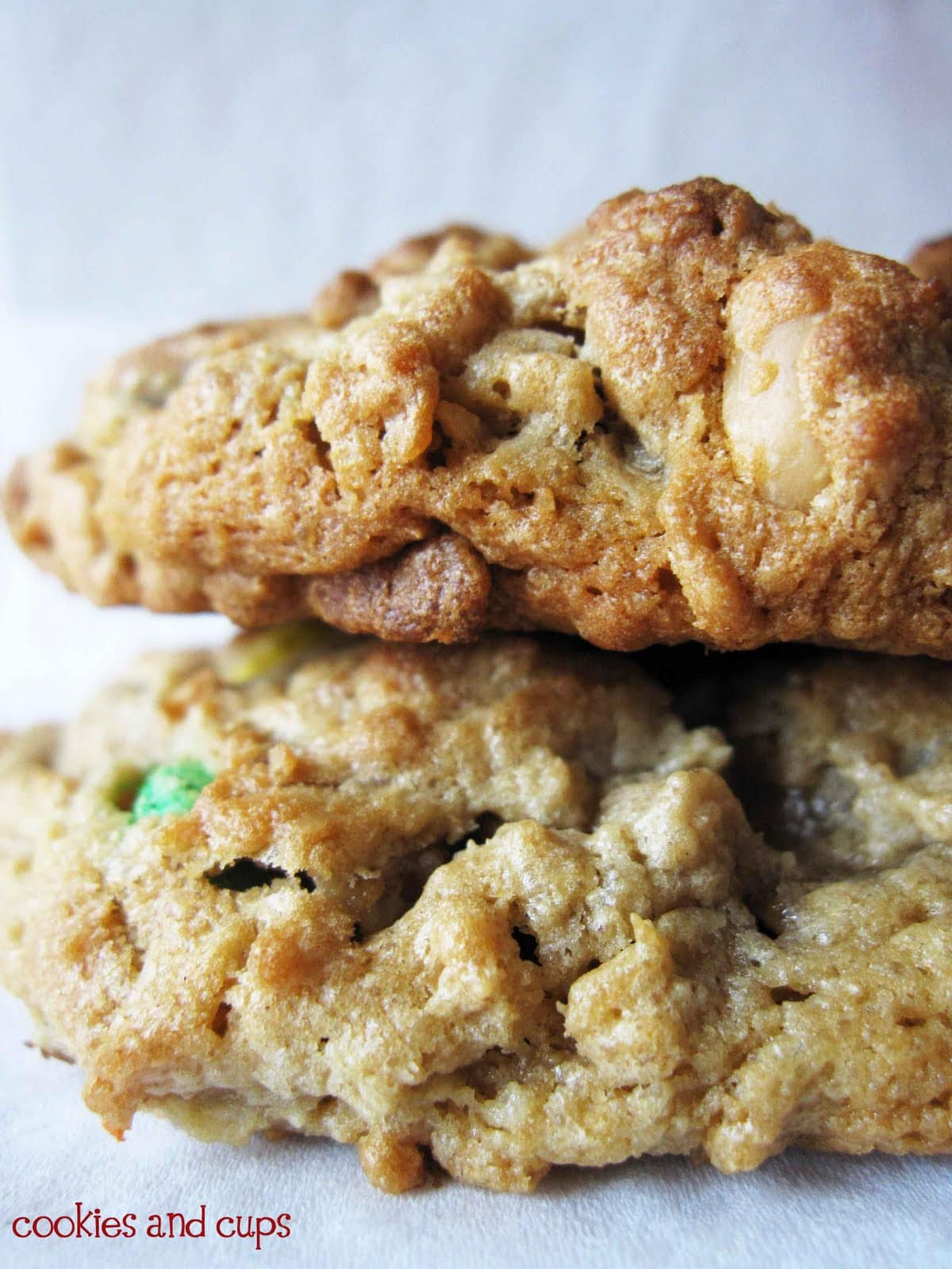 Close-Up of Stacked Monster Cookies