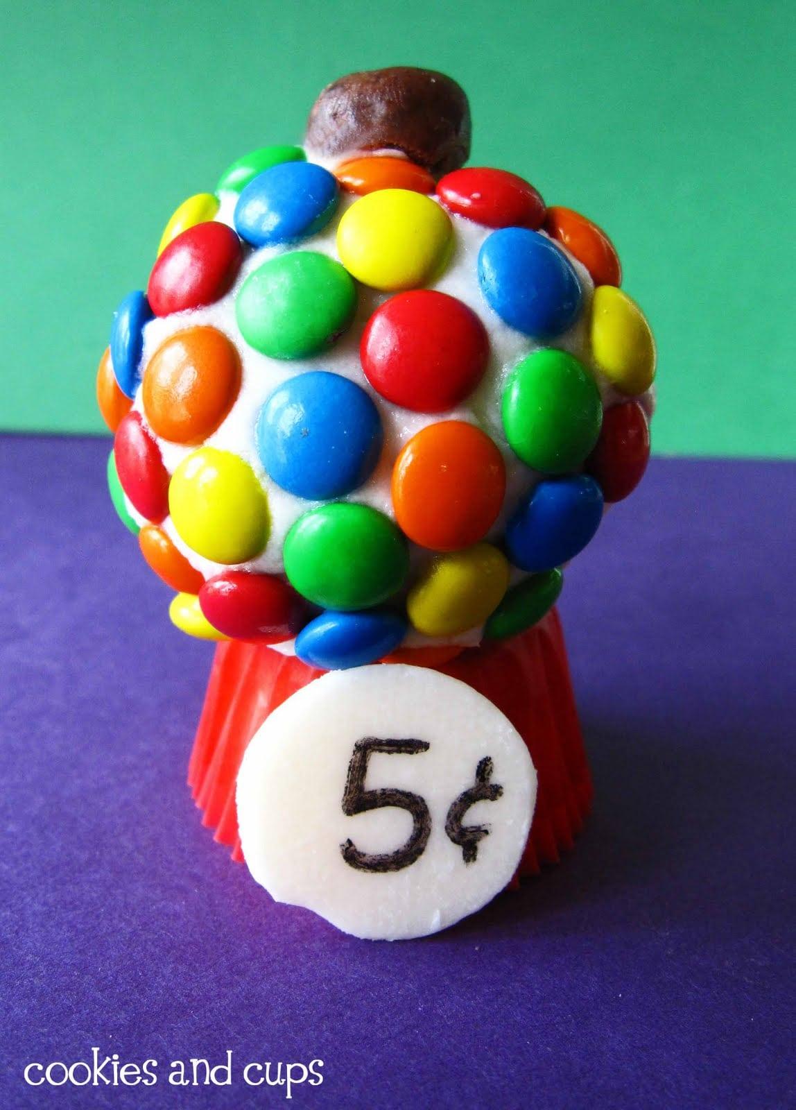 Close-up of a gumball cupcake