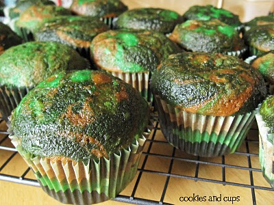 Unfrosted green camo cupcakes