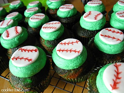 Camo Cupcakes with Green Frosting and Fondant Baseballs