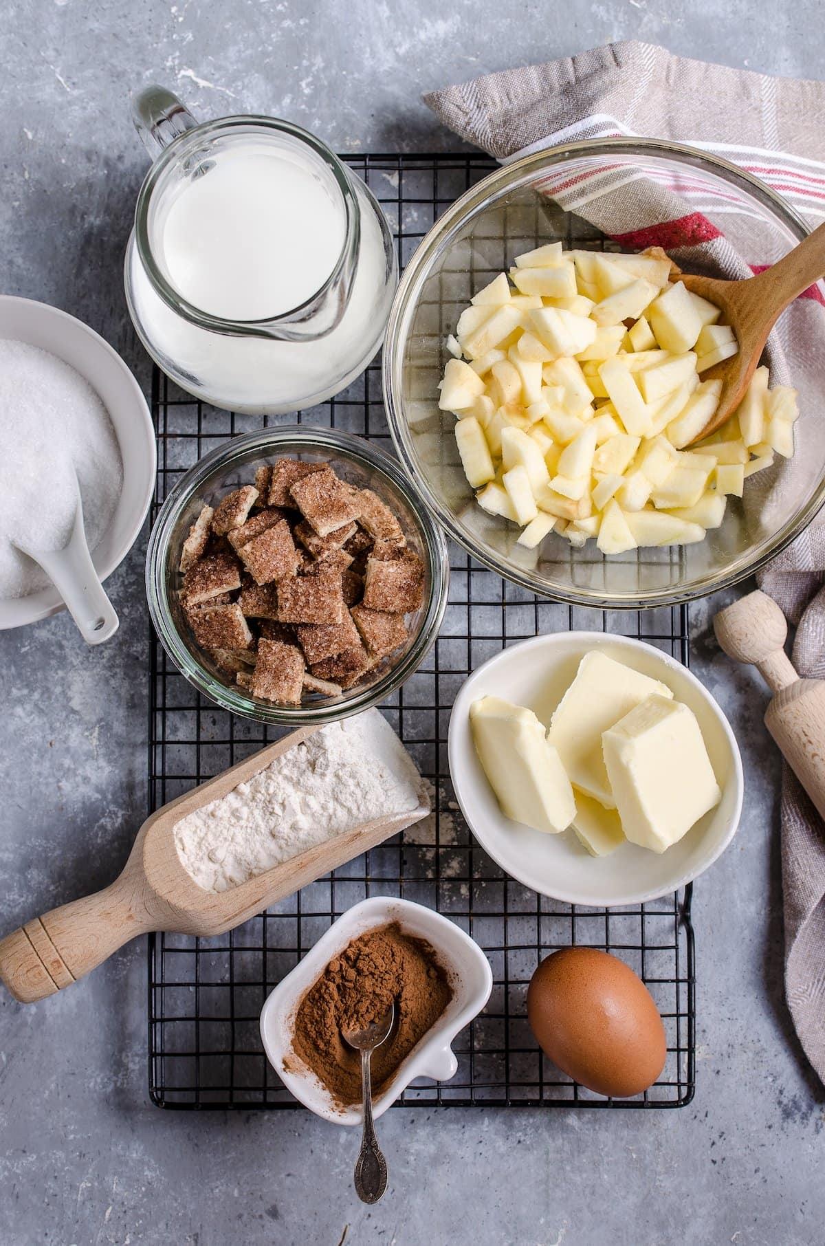 Ingredients for apple pie bars.