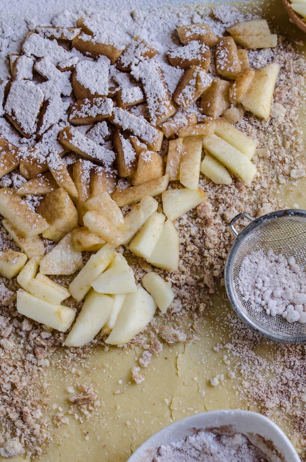 Apple slices in cinnamon sugar.