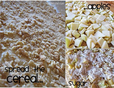A Collage of Images of Chopped, Peeled Apples, Crushed Cereal and Cinnamon Sugar