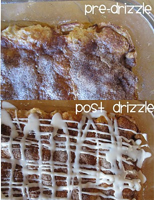 A Collage of Two Pictures of Apple Pie Bars Pre- and Post-Glaze Drizzle
