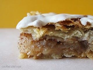 A Cinnamon Toast Crunch Apple Pie Bar on a Countertop in Front of a Yellow Wall