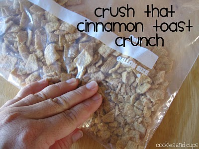 A Ziploc Bag of Cinnamon Toast Crunch Cereal Being Crushed with a Hand