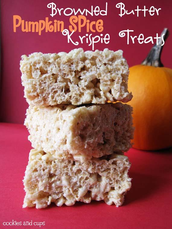 Browned Butter Pumpkin Spice Krispie Treats