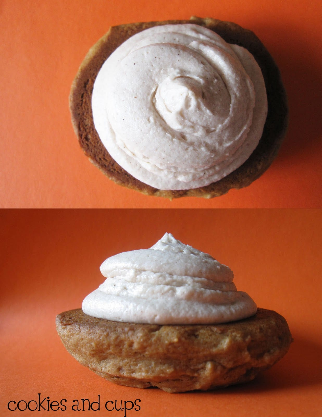 Two halves of apple butter whoopie pies with cinnamon buttercream frosting