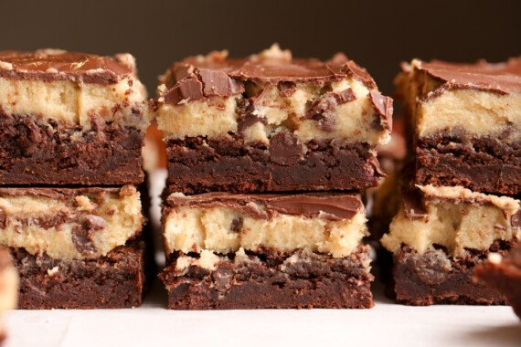 Fudge Brownies topped with raw cookie dough and chocolate ganache