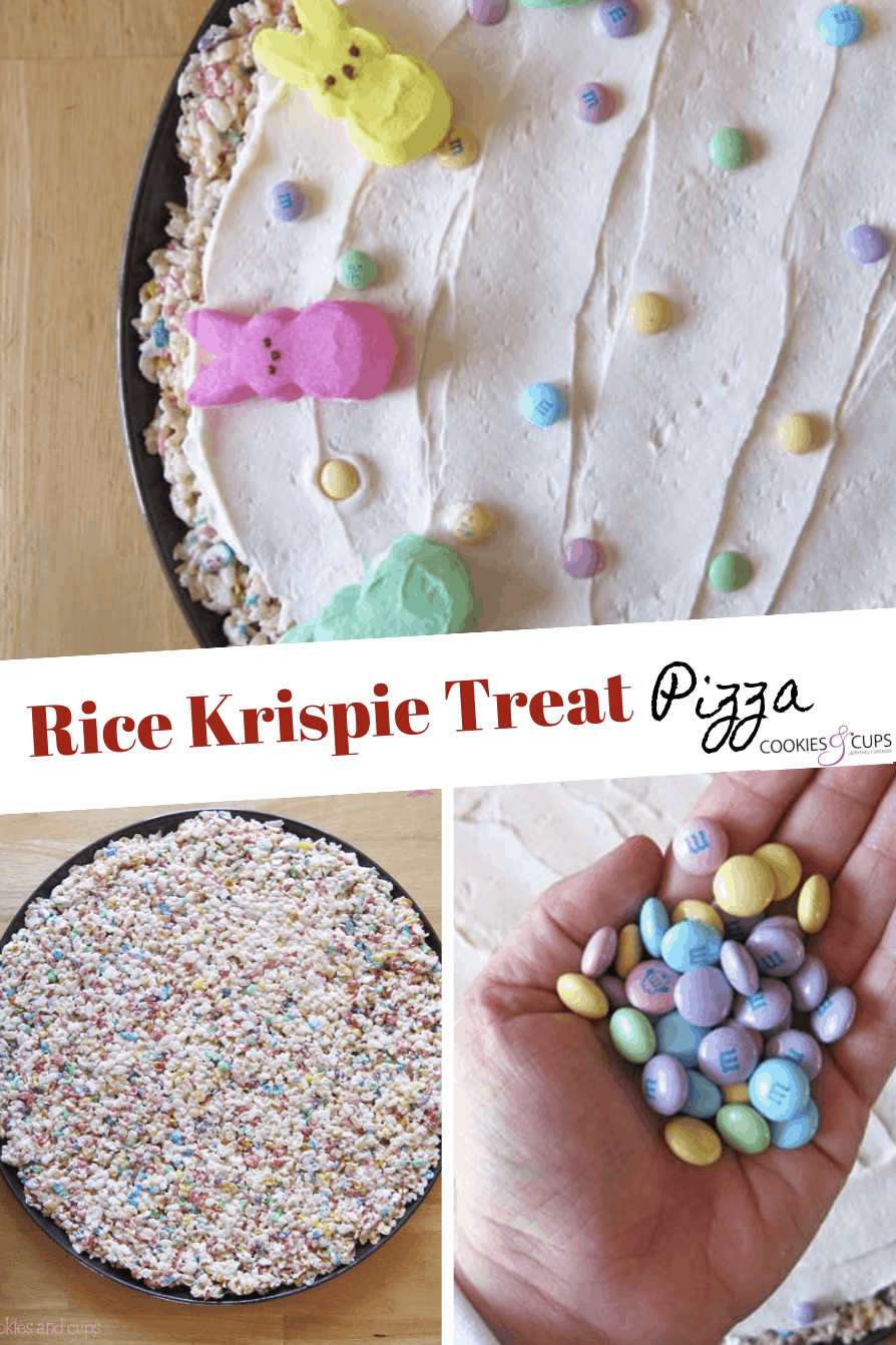 Pinterest image for rice krispie treat pizza