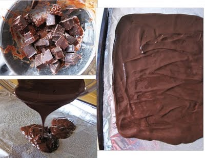 A Collage of Images of Melting Dark Chocolate Over a Makeshift Double Broiler