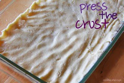 Pressed crust in baking pan