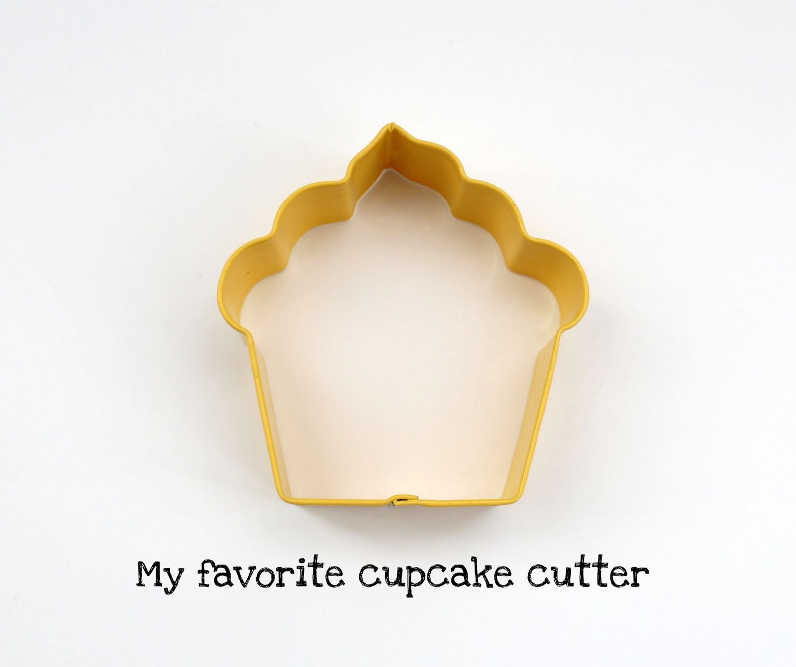 A cupcake-shaped cookie cutter