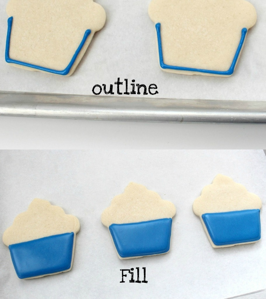 Collage to show steps of outlining and filling cookies with frosting