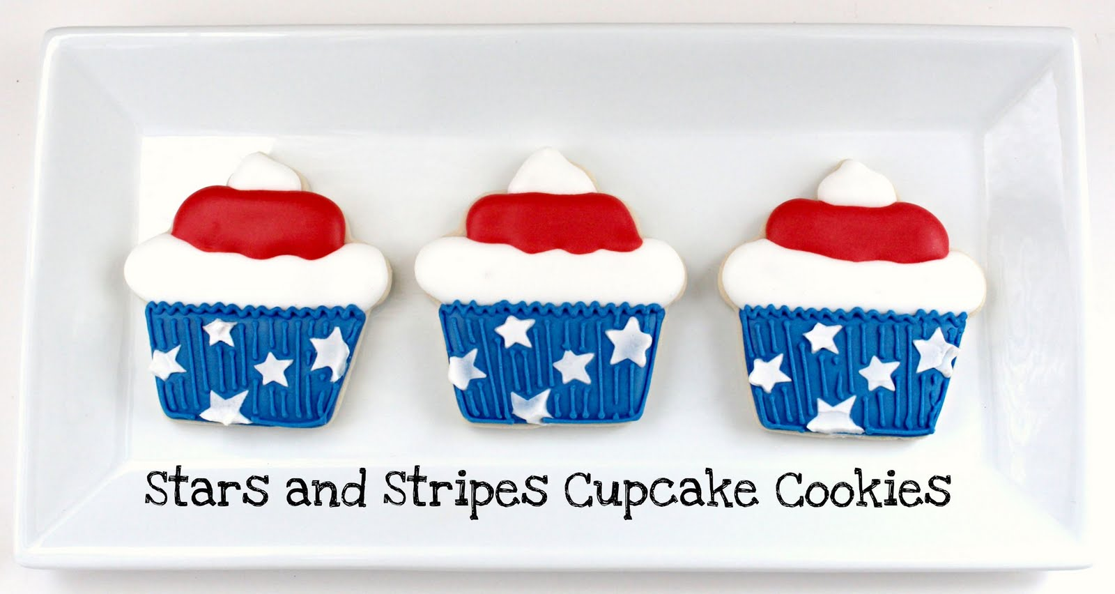 3 Stars and Stripes Cupcake Cookies on a platter