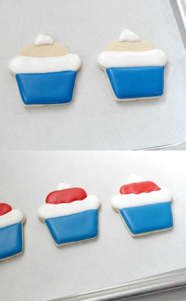Collage of Stars and Stripes Cupcake Cookies in process of decorating