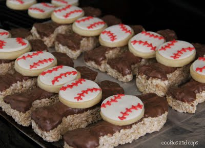 chocolate covered baseball bat krispie with sugar cookie ball