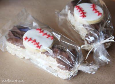 Individually wrapped baseball bat and ball krispie treats