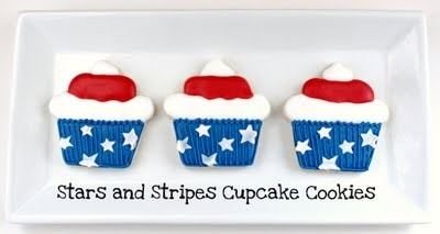 Three American Flag Decorated Sugar Cookies on a Plate