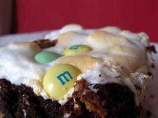 Brownies with Candy and Marshmallow Topping