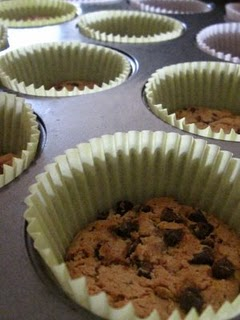 A Chips Ahoy Cookie at the Bottom of a Cupcake Liner in a Pan