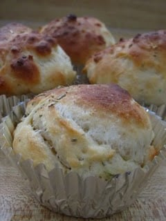 Baked focaccia in muffin cups