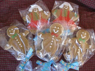 Five Individually Packaged Sugar Cookies with Gingerbread Icing Decorations