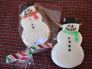 Two Christmas Sugar Cookies Decorated Like Snowmen