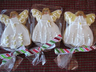 Three Packaged Sugar Cookies with Angel Icing Decorations for Christmas