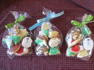 Three Packages of Assorted Mini Sugar Cookies with Christmas-Themed Decorations