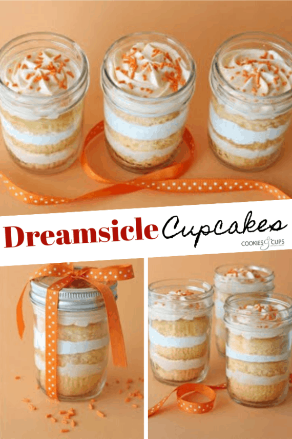 Image of Orange Dreamsicle Cupcakes in a Jar