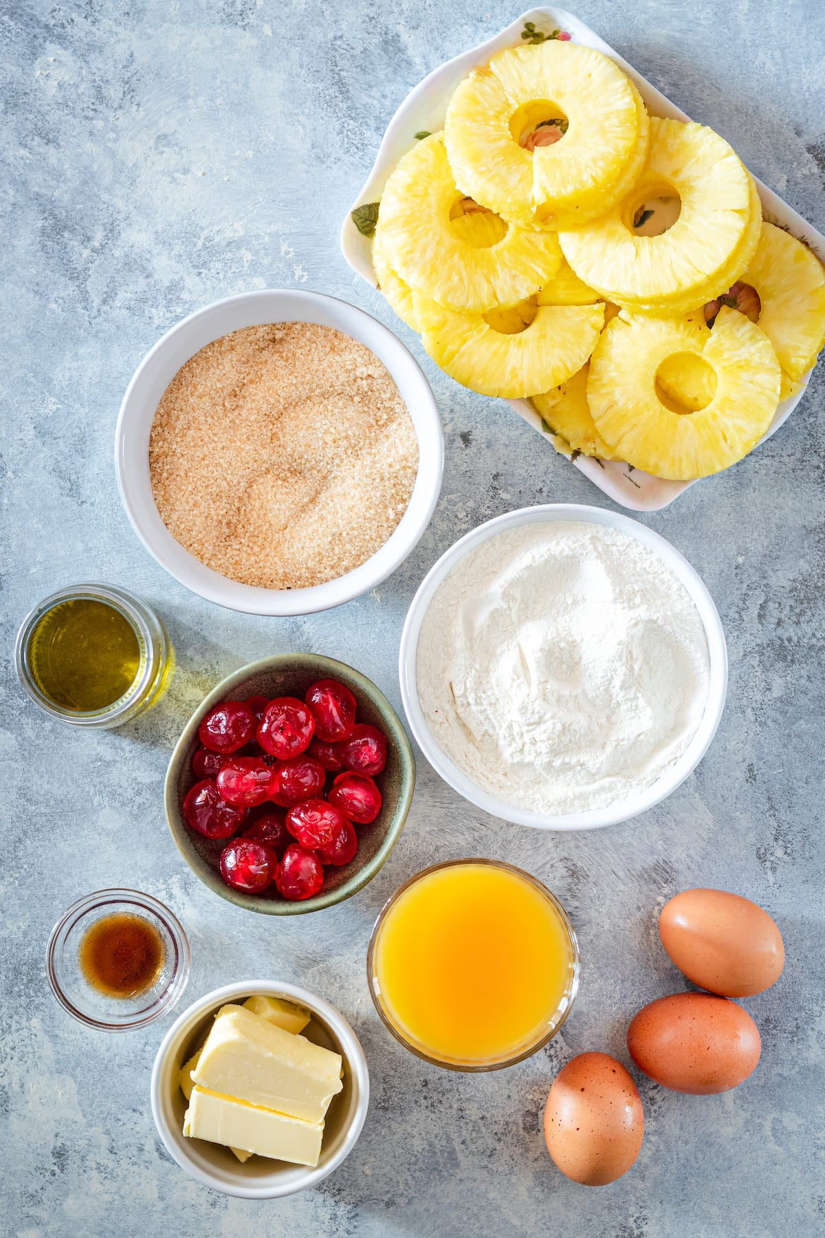 Ingredients for pineapple upside down cake.