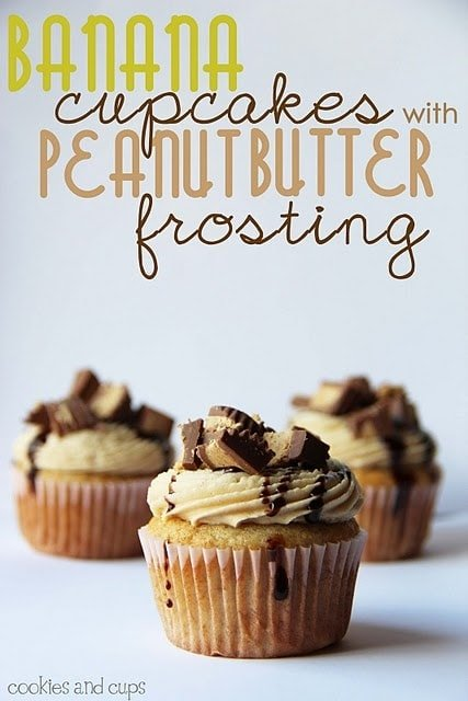 Image of banana cupcakes with peanut butter frosting