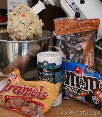 Ingredients for caramel swirled pretzel blondies