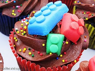 Close-up of a chocolate cupcake with candy legos