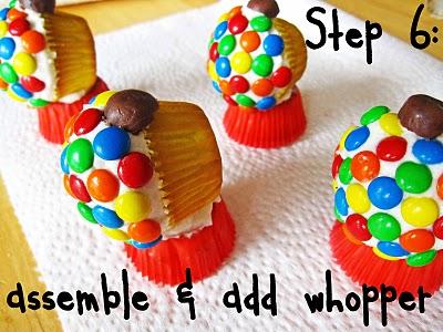 Step 6 of assembling Gumball Cupcakes